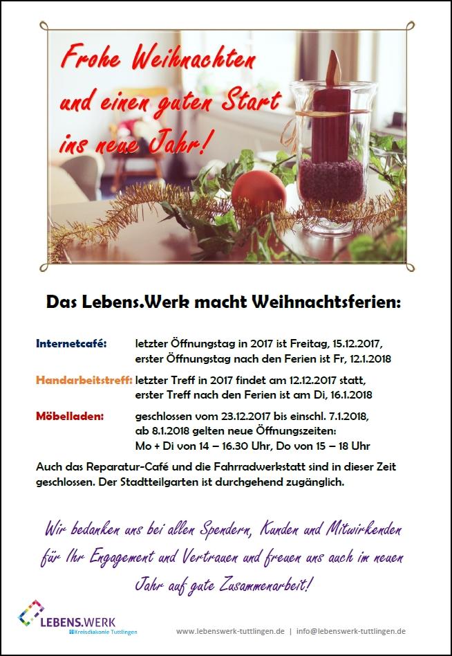 Infoschild Weihnachtsferien LebensWerk
